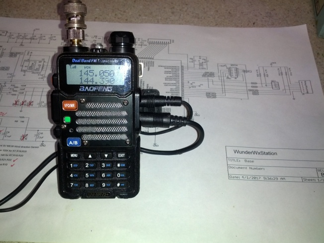 APRS  Weather Station  using Baofeng model UV5R VHF transciver on 144.290 Mhz for uplink.